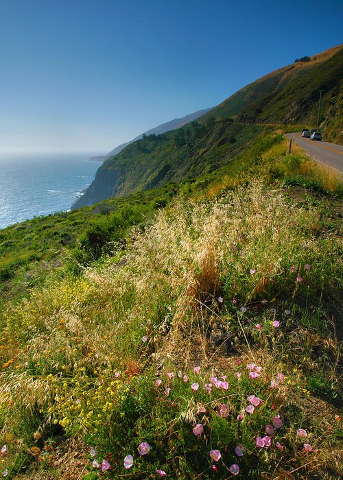 Ocean Greeting Card featuring the photograph View From The Pacific Coastal Highway by Steven Ainsworth