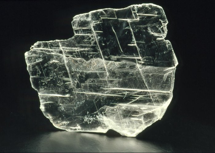 Gypsum Greeting Card featuring the photograph View Of A Sample Of Selenite, A Form Of Gypsum by Kaj R. Svensson