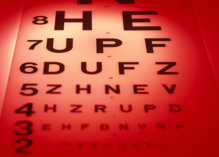 View Of A Snellen Eye Test Chart Greeting Card For Sale By Tek Image