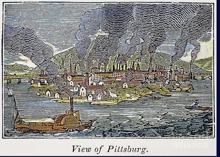 1836 Greeting Card featuring the photograph View Of Pittsburgh, 1836 by Granger