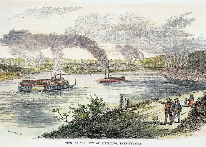 1853 Greeting Card featuring the photograph View Of Pittsburgh, 1853 by Granger