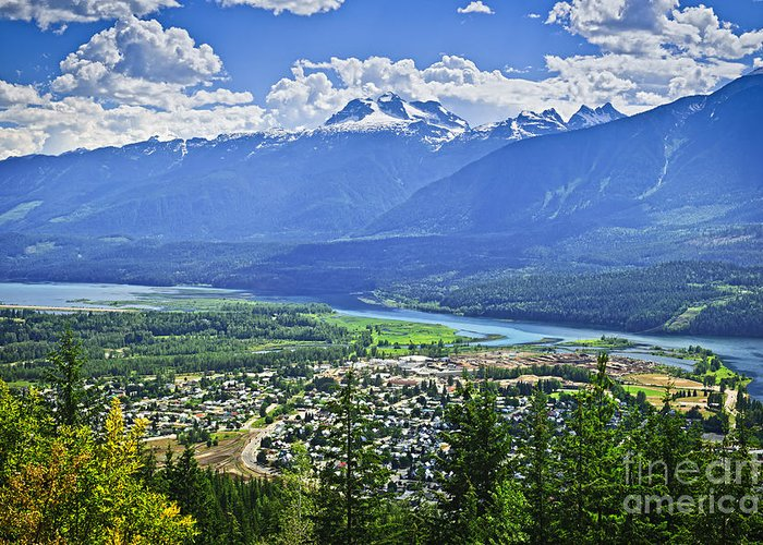 Revelstoke Greeting Card featuring the photograph View Of Revelstoke In British Columbia by Elena Elisseeva