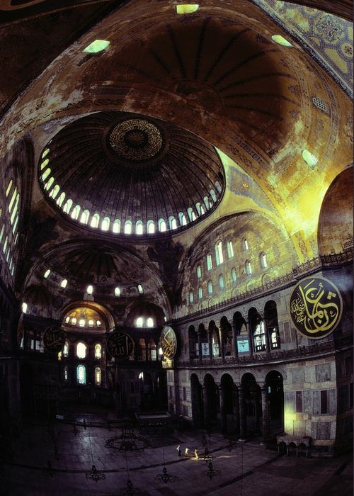 Hagia Sophia Greeting Card featuring the photograph View Of The Interior Of Hagia Sophia by James L. Stanfield