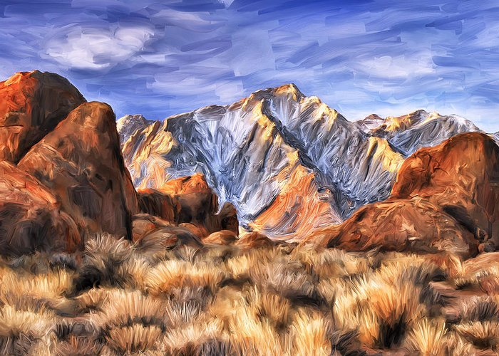View Of The Sierras Greeting Card featuring the painting View Of The Sierras by Dominic Piperata