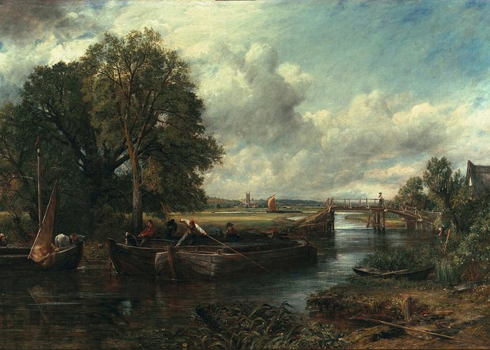 Landscape Greeting Card featuring the painting View Of The Stour Near Dedham by John Constable