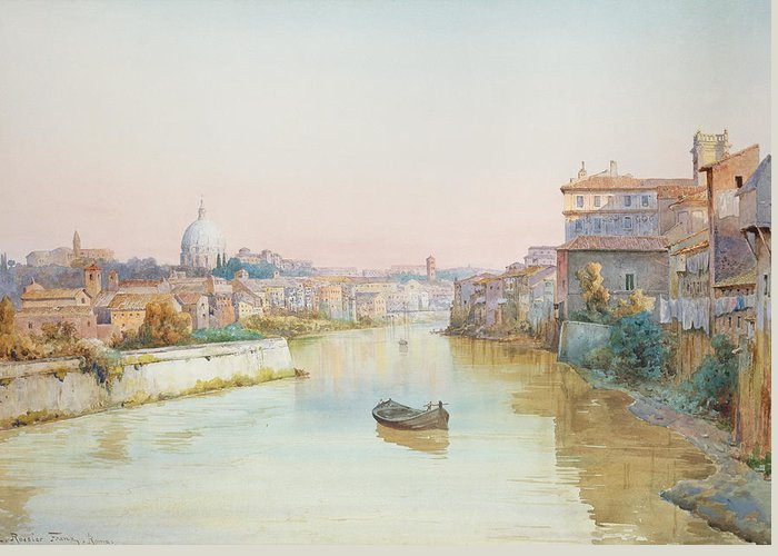 River; Tiber; Cityscape Greeting Card featuring the painting View Of The Tevere From The Ponte Sisto by Ettore Roesler Franz