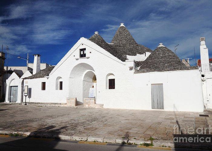 Alberobello Greeting Card featuring the photograph View Of Trullo Sovrano by Gualtiero Boffi