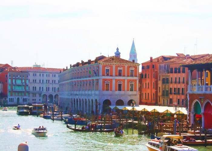 Venice Print Greeting Card featuring the photograph View Of Venice's Market by Christiane Kingsley