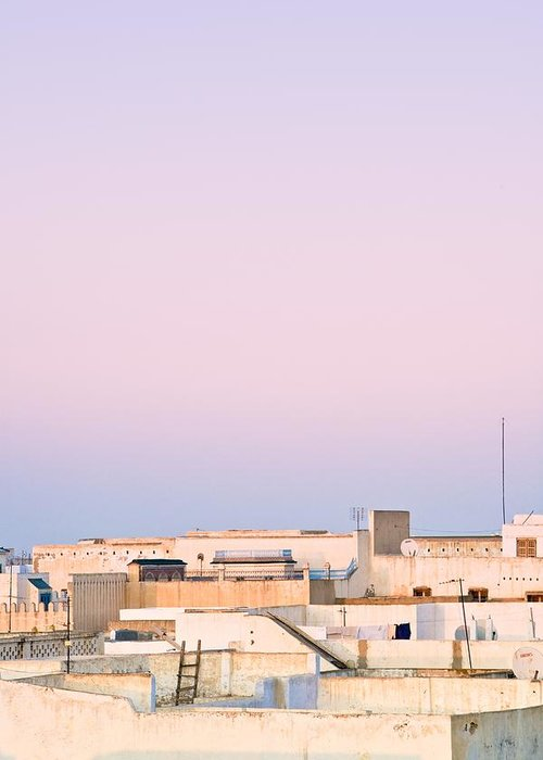 Building Exterior Greeting Card featuring the photograph View Over Rooftops Kairouan, Tunisia by David DuChemin