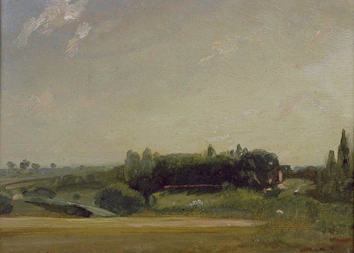 View Greeting Card featuring the painting View Towards The Rectory - East Bergholt by John Constable
