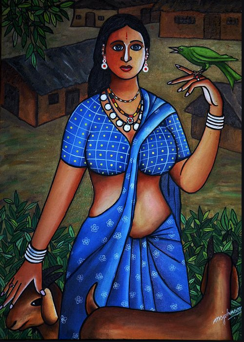 Girl Greeting Card featuring the painting Village Girl by Johnson Moya