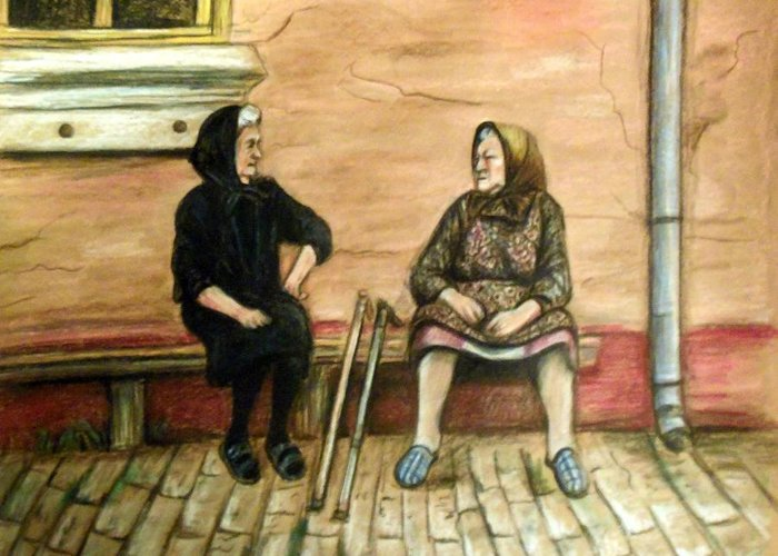 Old Women Greeting Card featuring the drawing Village Gossip by Linda Nielsen