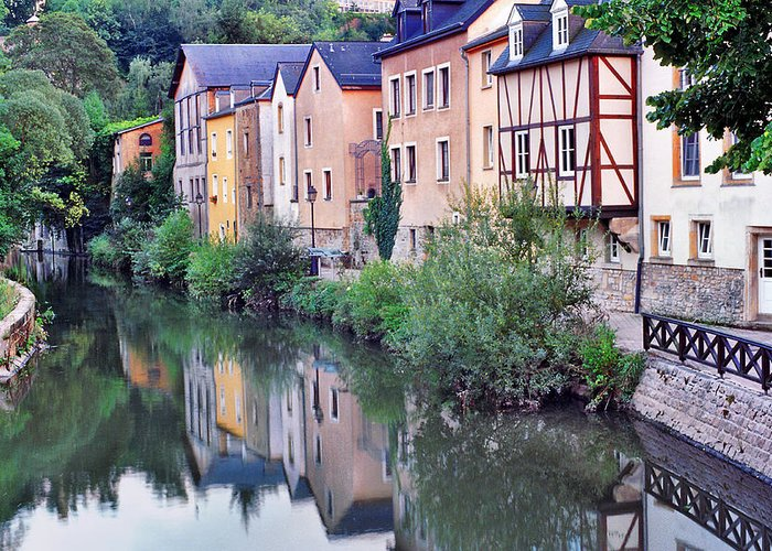 Luxembourg Greeting Card featuring the photograph Village Reflections In Luxembourg I by Greg Matchick