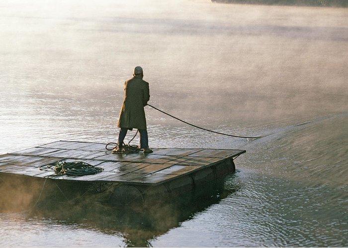 Himalaya Greeting Card featuring the photograph Villager On Raft Crosses Lake Phewa Tal by Gordon Wiltsie