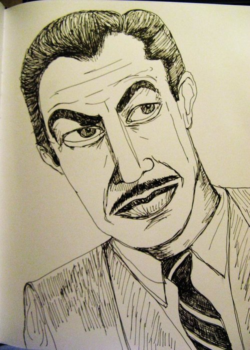 Portrait. Greeting Card featuring the drawing Vincent Price by Caroline Lifshey