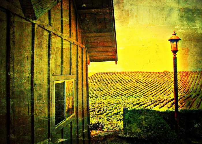 Wine Greeting Card featuring the photograph Vineyard Reflection by Kevin Moore