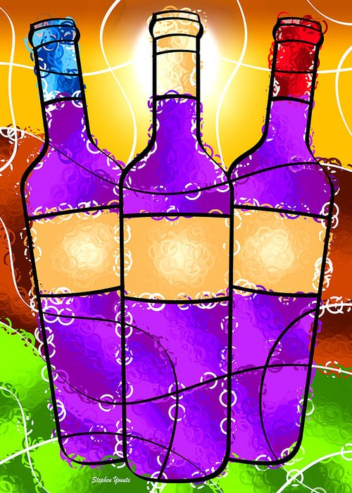 Vino Greeting Card featuring the digital art Vino by Stephen Younts