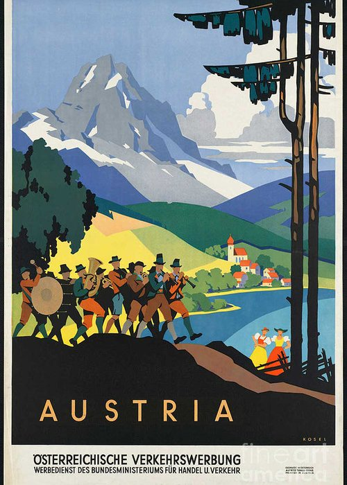 Austria Greeting Card featuring the photograph Vintage Austrian Travel Poster by George Pedro