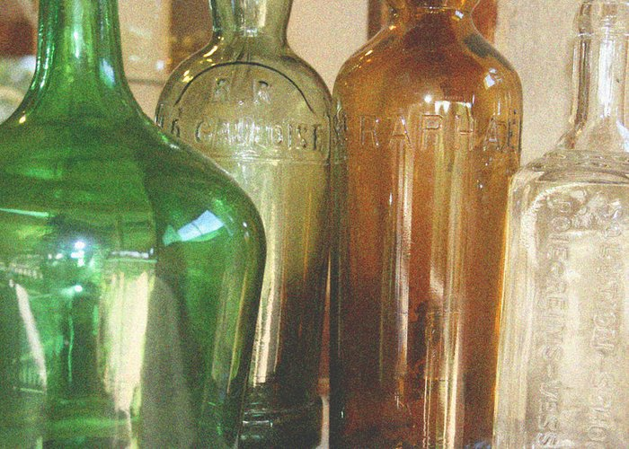 Bottles Greeting Card featuring the photograph Vintage Bottles by Georgia Fowler
