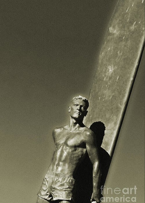 Santa Cruz Greeting Card featuring the photograph Vintage Bronze Surfer by Paul Topp