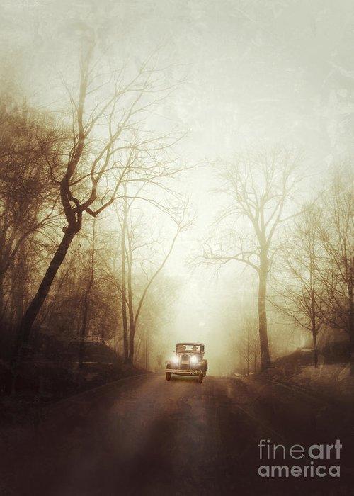 Car Greeting Card featuring the photograph Vintage Car On Foggy Rural Road by Jill Battaglia