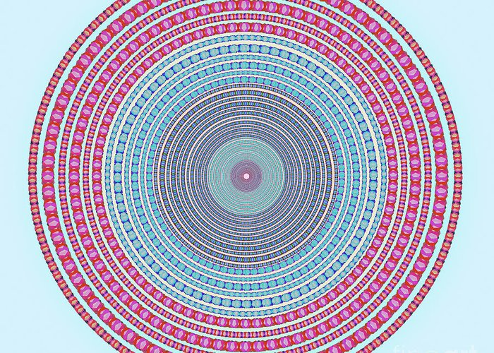 Abstract Greeting Card featuring the digital art Vintage Color Circle by Atiketta Sangasaeng