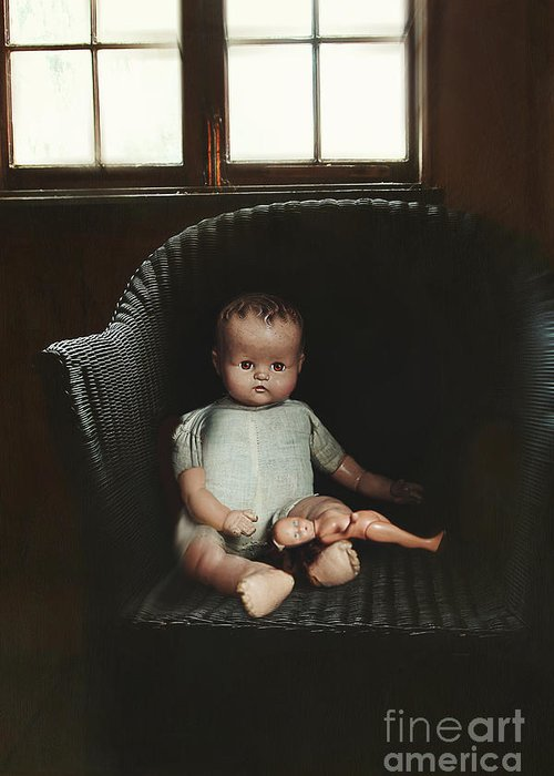 Atmosphere Greeting Card featuring the photograph Vintage Dolls On Chair In Dark Room by Sandra Cunningham