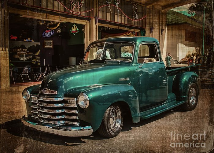 Truck Greeting Card featuring the photograph Vintage Green Dream by Perry Webster
