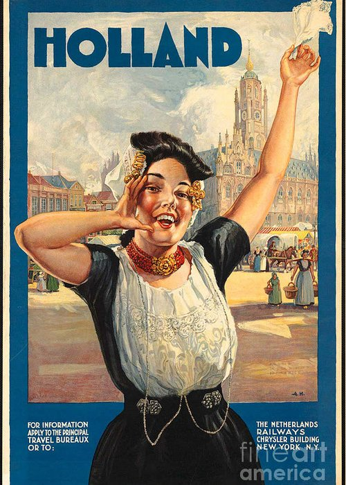 Holland Greeting Card featuring the photograph Vintage Holland Travel Poster by George Pedro