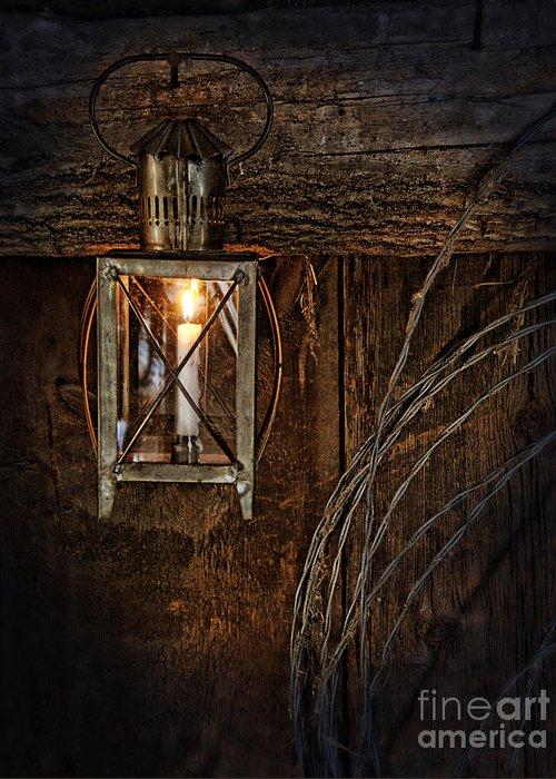 Lantern Greeting Card featuring the photograph Vintage Lantern Hung In A Barn by Jill Battaglia