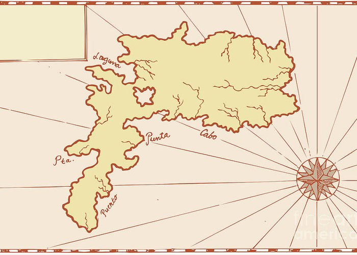 Illustration Greeting Card featuring the digital art Vintage Map Of Island by Aloysius Patrimonio