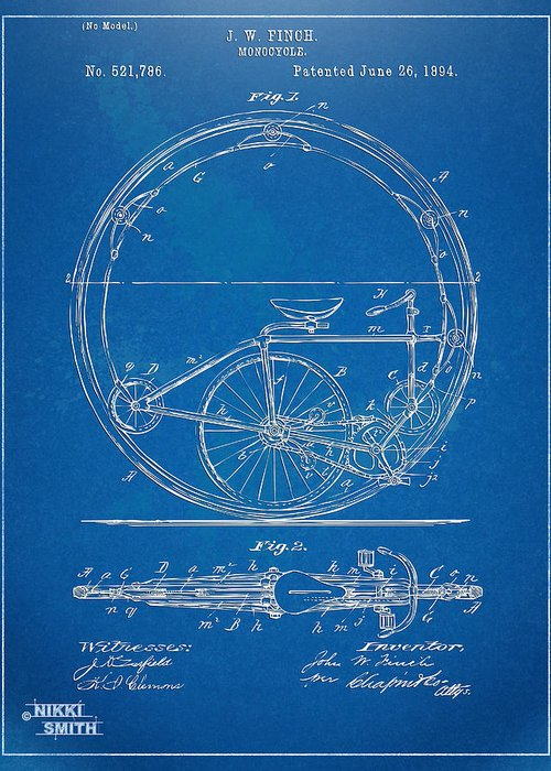 Bicycle Greeting Card featuring the digital art Vintage Monocycle Patent Artwork 1894 by Nikki Marie Smith