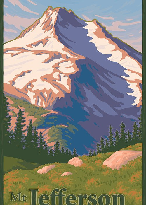 Portland Greeting Card featuring the digital art Vintage Mount Jefferson Travel Poster by Mitch Frey