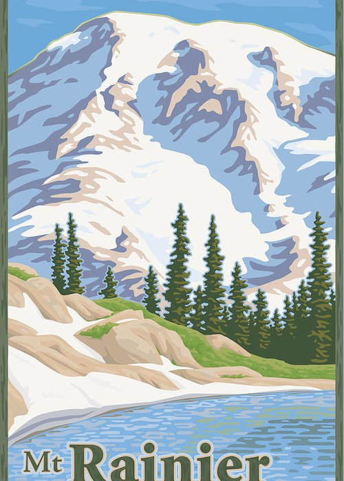 Mount Greeting Card featuring the digital art Vintage Mount Rainier Travel Poster by Mitch Frey
