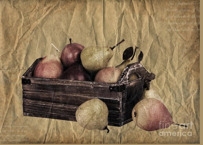 Aged Greeting Card featuring the photograph Vintage Pears by Jane Rix