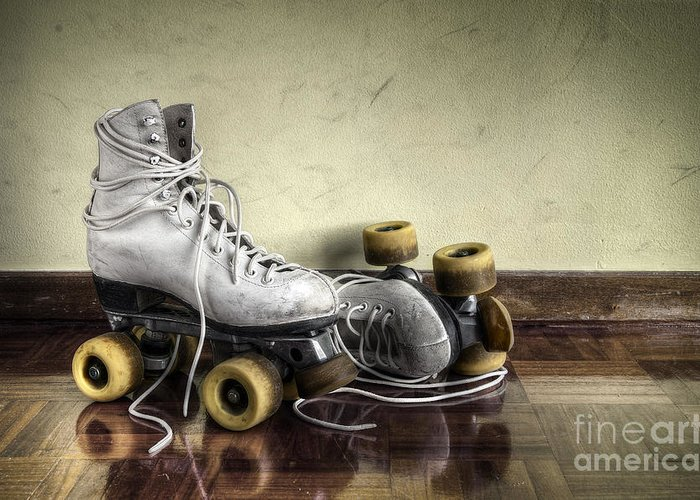 Active Greeting Card featuring the photograph Vintage Roller Skates by Carlos Caetano