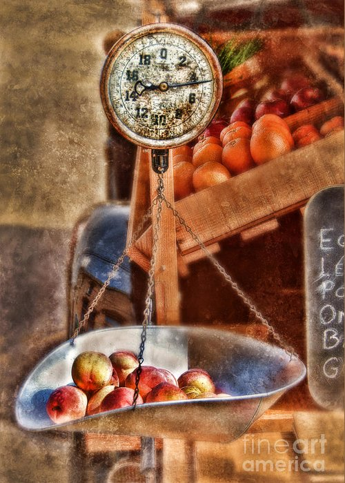 Scale Greeting Card featuring the photograph Vintage Scale At Fruitstand by Jill Battaglia