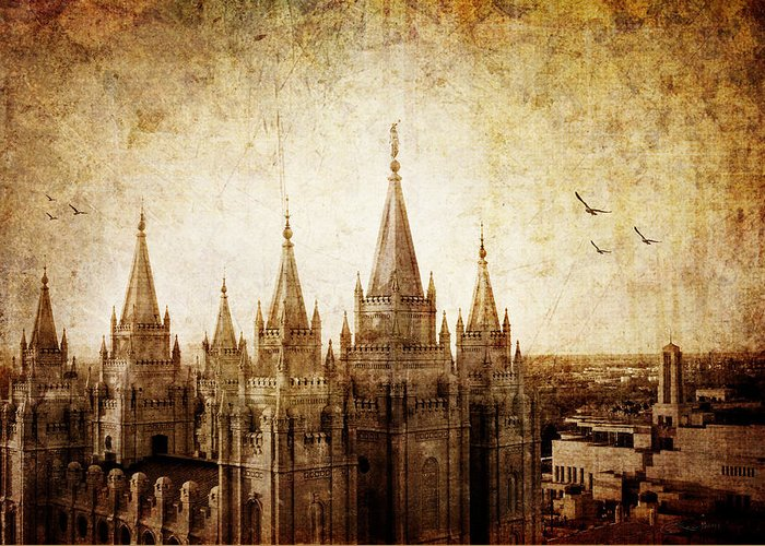 Vintage Greeting Card featuring the photograph Vintage Slc Temple by La Rae Roberts