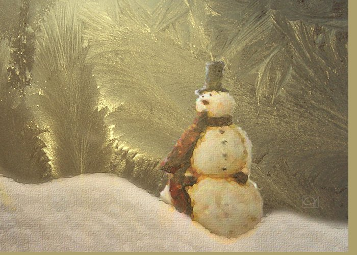 Snowman Greeting Card featuring the digital art Vintage Snowman by Jean Moore