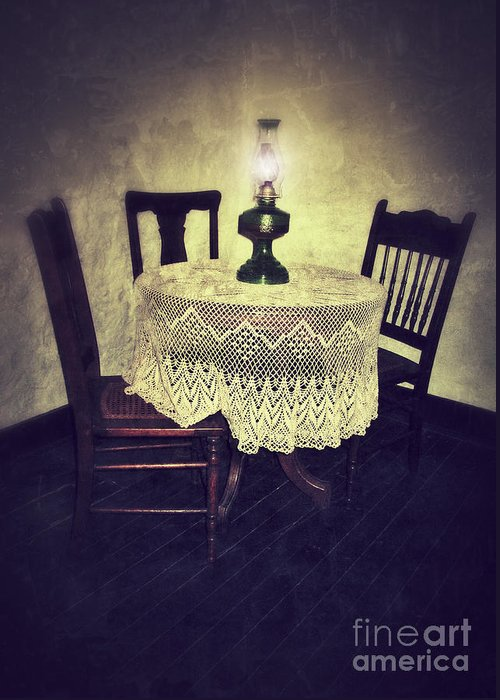 Table Greeting Card featuring the photograph Vintage Table And Chairs By Oil Lamp Light by Jill Battaglia