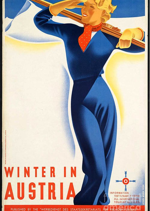 Winter Greeting Card featuring the photograph Vintage Winter In Austria Travel Poster by George Pedro