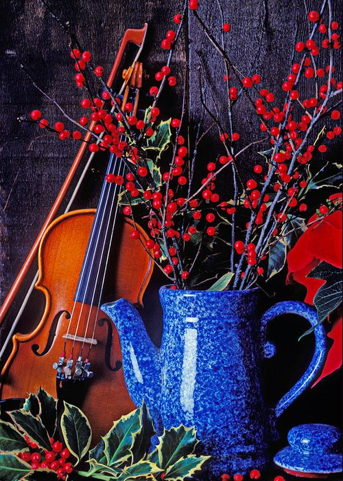 Violin Greeting Card featuring the photograph Violin With Blue Pot by Garry Gay