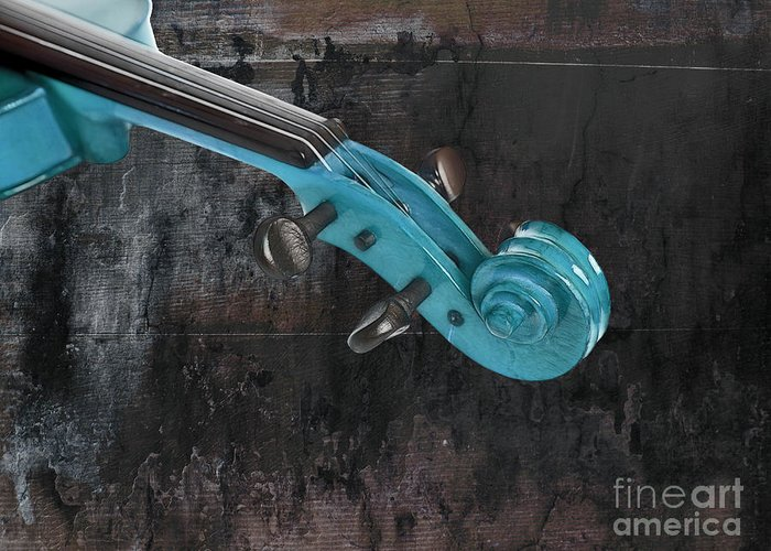 Violin Greeting Card featuring the photograph Violinelle - Turquoise 05a2 by Variance Collections