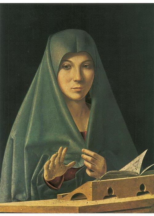 Antonello Da Messina Greeting Card featuring the painting Virgin Annunciate by Antonello Da Messina