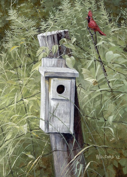 Landscape Greeting Card featuring the painting Virginia Birdhouse by Duane Wolford
