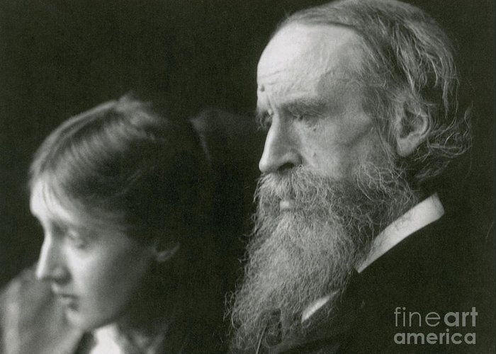 Virginia Woolf Greeting Card featuring the photograph Virginia Woolf With Her Father by Photo Researchers
