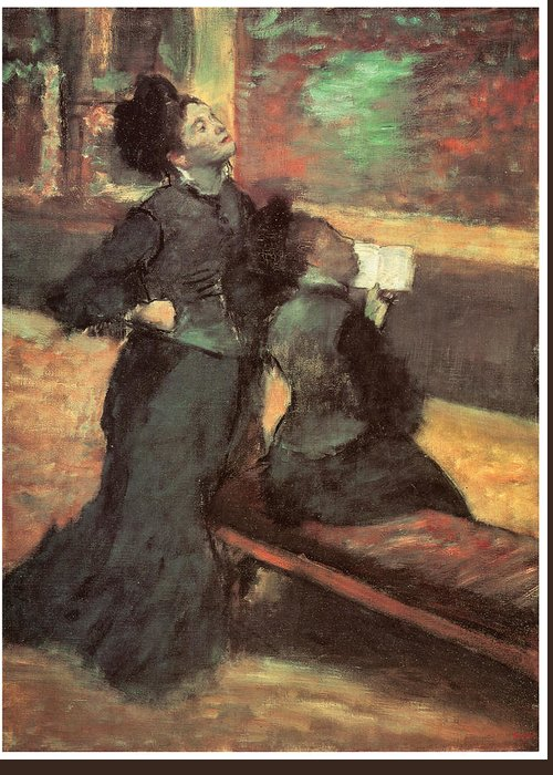 Visit To A Museum Greeting Card featuring the painting Visit To A Museum by Edgar Degas