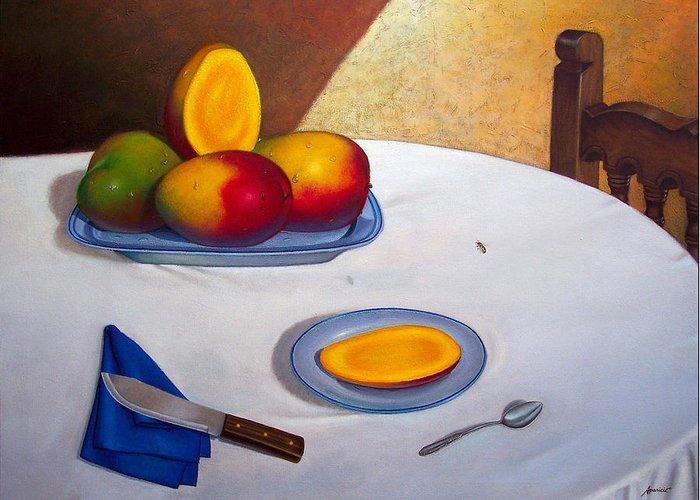 Mangoes Still Life Greeting Card featuring the painting Visita Inesperada. Unexpected Visitor by Ezequiel Ramos APARICIO