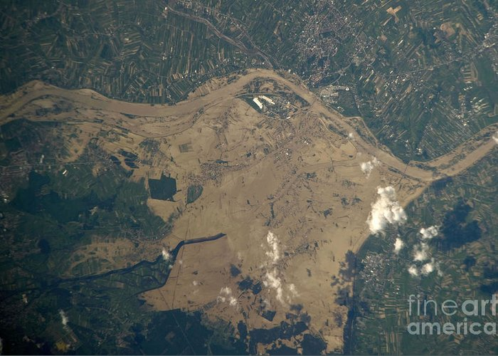 Aerial View Greeting Card featuring the photograph Vistula River Flooding, Southeastern by NASA/Science Source