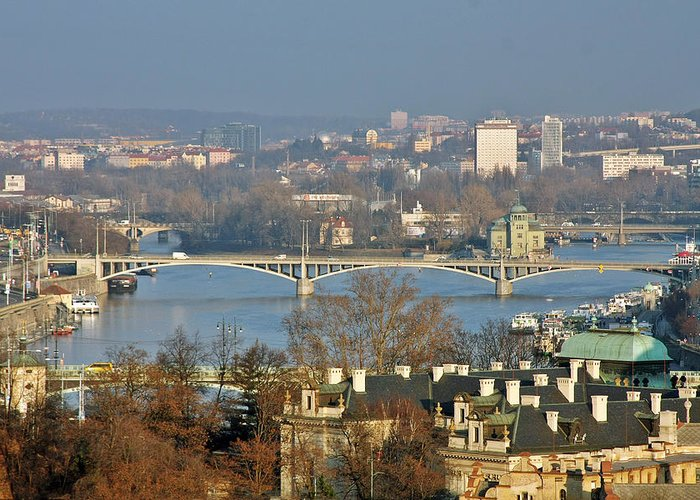 Vltava Greeting Card featuring the photograph Vltava River In Prague - Tricky Laziness by Christine Till